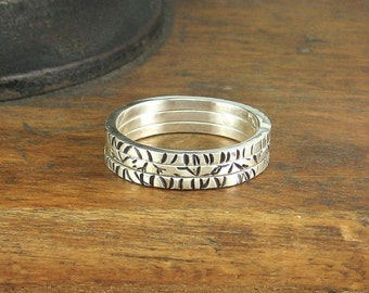 Sterling Silver Stacking Rings, Set of Three, Size 8 1/4, Stamped, Oxidized, Ready To Ship