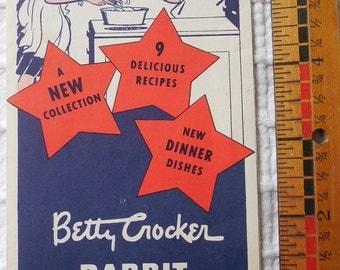 1950's BETTY CROCKER  Cookbook RABBIT Recipes