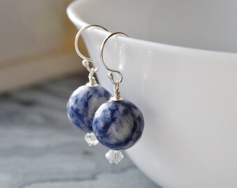 Sodalite Earrings, Natural Gemstone Jewellery, Sterling Silver Earrings, Denim Blue, Gift for Her, UK Earrings