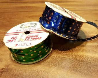 90s Vintage Unused Blue & Silver SNOWFLAKE Metallic Ribbon - 30 ft, 9 metres - made in USA - home decor, gifting, stationery - Christmas