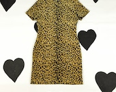 80's velour leopard print wiggle dress 1980's sexy office classic cotton velvet tan black leopard printed fitted pinup babe dress size M L 8