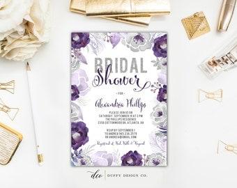 Bridal Shower Invitation, Bridal Shower Invite, Purple Bridal Shower Invite, Floral Shower Invite, Wedding Shower Invite, 5x7 Printable