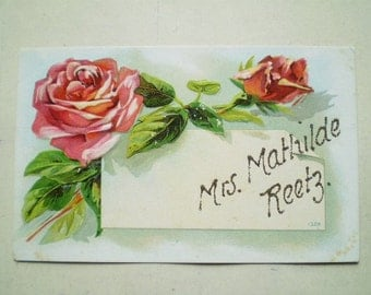 Red and Pink Roses - Antique American Postcard - Mrs. Mathilde Reetz - Early 1900s