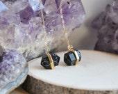 Spike Earrings, Small Spike Earrings, Small Black Spike Earrings, Black Spike Earrings,14k gold filled earrings,Black Earrings,Long Earrings