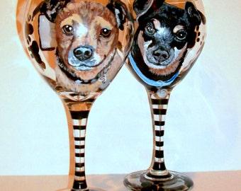 Pet Portraits Custom Hand Painted Wine Glasses On 2 - 20 oz. Wine Glasses Dog Cat Horse Any Pet Gift Pet Memorial Pet Lover