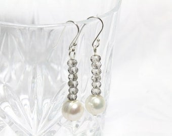 Swarovski Crystal Dangle Earrings with White Freshwater Pearl