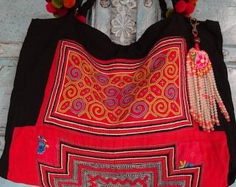 Vintage Hmong Batik Baby carrier tote bag beaded charm