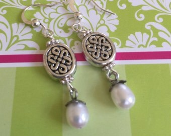 Celtic and Pearl Earrings