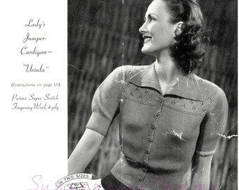 Ursula, a 1940s knitted cardigan jacket in plus size - vintage knitting pattern PDF (480)