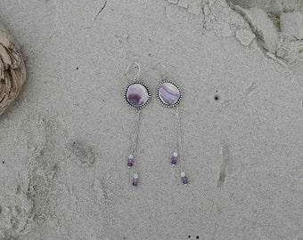 Wampum Shell Dangle Earrings   Sterling Silver Earrings   Mermaid Jewelry