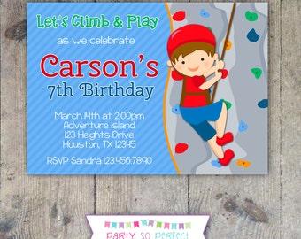 ROCK CLIMBING Boy 5x7 Birthday Party Invitation - PRINTABLE