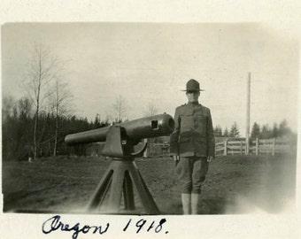 "Vintage Photo ""Oregon Cannon Man"" Military Gun Snapshot Photo Antique Photo Black & White Photograph Found Paper Ephemera Vernacular - 36"
