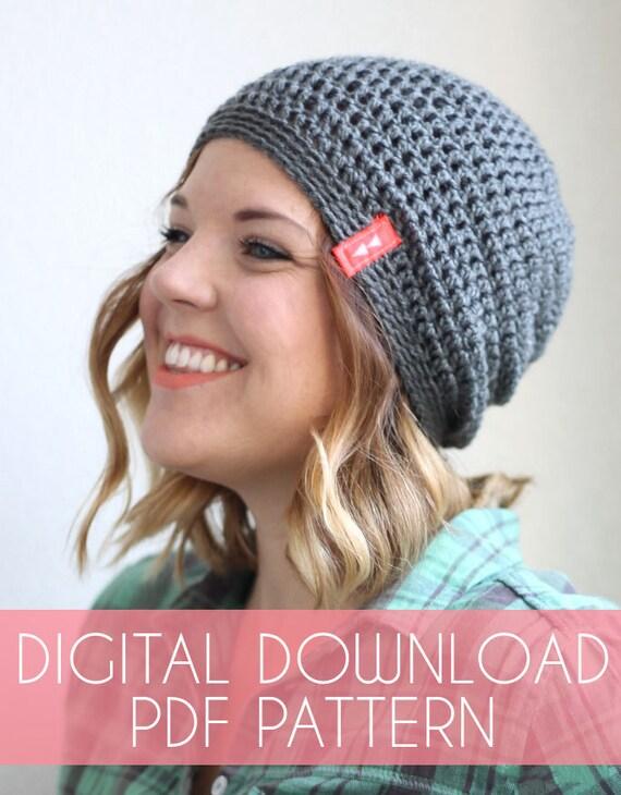 Simple Slouch Hat Crochet Pattern - Instant Download