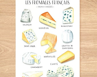foodie art print, cheese poster, french cheese, food poster, Food print, food art print, food art, foodies gift, food illustration