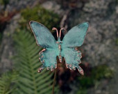 Copper Patina Butterfly - garden stake