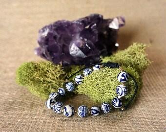 Blue and White Ceramic - Adjustable Beaded Bracelet