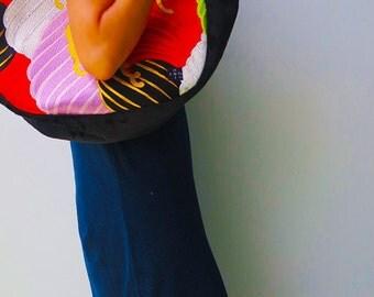 """Kimono Obi  Hobo Style Tote """"Black Wave"""" (L)/ Big size tote / best mom bag"""