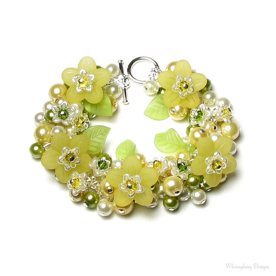 Yellow Honeysuckle Flower Swarovski Crystal Silver Charm Bracelet, Sweet Spring Floral Jewelry, Green Garden Leaves, Pretty Gift For Women