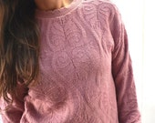 90s Knit Sweater Baroque Print Audrey Horne Twin Peaks Vintage Pullover Pink Keneth Too Small S / Medium M