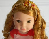 """Wellie Wisher Thanksgiving Headband Turkey w/ Rhinestones on Striped """"Gobble"""" Band 14"""" Doll Hair Accessory also Fits Hearts for Hearts"""