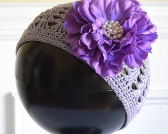 "Purple Crocheted Beanie Hat for 3-5Yr w/ 4"" Purple Silk Flower & Rhinestone Pearl Center on Alligator Clip Photo Prop Portraits Birthdays"