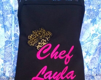 Personalized Apron for Kids with Leopard Chef Hat
