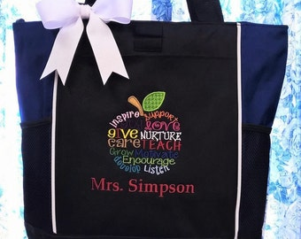 Personalized Teacher Tote Bag Apple Subway Art Lettering with Custom Name