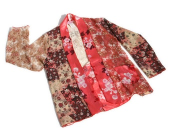 Patchwork Lace and Floral Print Asian Style Kimono / Made in Hawaii