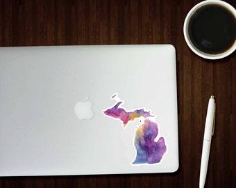MEDIUM Colorful Michigan Sticker, Michigan Decal, Watercolor Michigan Sticker, Great Lakes State, Car Decal, Laptop Sticker, BigLake