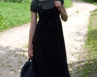 Black cord sarafan, black grey dress, cord dress, recycled sarafan, sarafan dress, long sarafan, flower dress, one of a kind