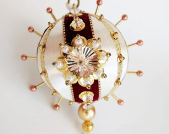Autum Cranberry, Rust, and Glitter Gold Ivory Ornament by Distinguished Flamingo