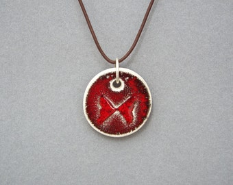 Ceramic Pendant, Butterfly Necklace, Leather Jewelry, Marsala Pendant
