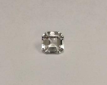 Engagement Ring white Aquamarine Gemstone, Asscher cut 4.35 carats Square Octagon, diamond alternative