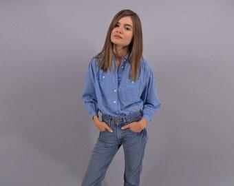 Vintage Chambray Shirt, Polka Dot Blouse, Cotton Top, 80s Polka Dot Top Δ fits sizes: xs / sm / md