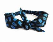 Tie Headband made from Tardis Fabric, Sci fi Doctor Who Black Fabric Hair Bow Headband, Fandom Whovian Headband Police Box Tie Headband