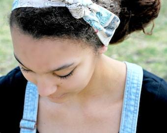 Printed Head Scarf Vintage Inspired Retro Pin Up Rockabilly Tie Headband