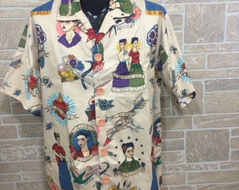 Frida Kahlo mens shirt, Cream Frida Hawaiian shirt, casual friday work shirt, party shirt, dance shirt