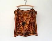 Mid Century Vera Neumann Silk Scarf - Brown / Black Modernist Starburst