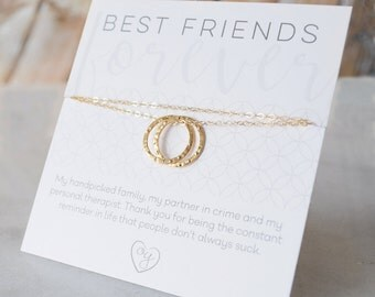 Best Friend Necklace, Friendship Jewelry, Bridesmaids' Gifts, Double Circle Charm, Silver, Gold, Rose Gold, Olive Yew - 1293