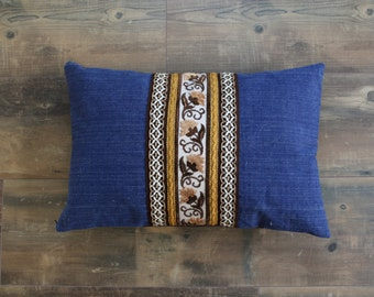 Denim pillow case with vintage ribbons, retro style pillowcase, bohemian decor, lumbar pillow cover, 25x15 inch decorative pillow