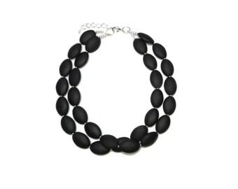 Black Necklace Black Bridesmaid Chunky Necklace Black Earrings  Black Jewelry  Chunky Necklace Statement Jewelry Bridesmaid Jewelry