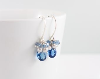 Blue topaz and pearl earrings, AAA gemstone, cluster, handcrafted, sterling silver: Simply Adorned