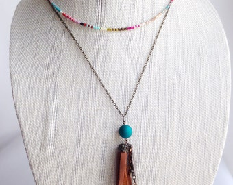 Tassel necklace, Bohemian festival necklace, feather necklace, cluster necklace, long layering necklace, boho chic, unique beads combo