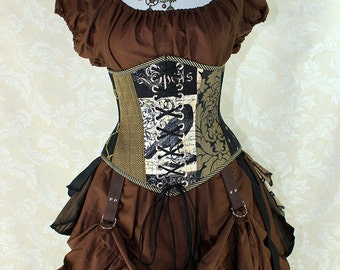 "Poe Inspired Steampunk Nevermore Random Patchwork Waspie Corset w/Front Laces -- Corset Size 30, Fits Waist 33""-35"" -- Ready to Ship"