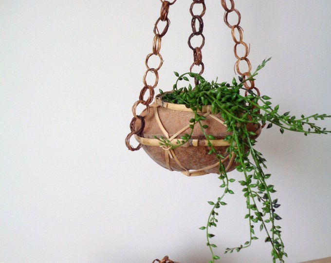 Vintage Boho Jungalow Hanging Coconut Shell Planter / Plant Hanging Display / Macrame Inspired Foliage Pot