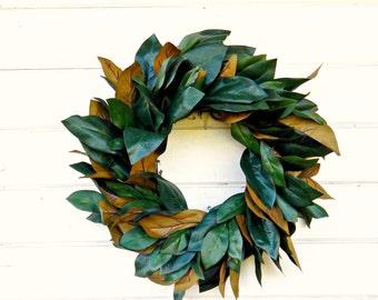 Magnolia Wreath-Farmhouse Wreath-Magnolia Door Wreath-Outdoor Wreath-Rustic Door Wreaths-Housewarming Wreath-Wedding Gift-Gift for Mom