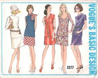 Super Uncut Vintage 1970s Vogue Basic Design 2277 Two-Piece Dress Top and Slim Skirt Sewing Pattern B36
