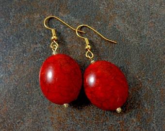 Red Drop Earrings, Oval Earrings, Acrylic, Stone Earrings, Puff Earrings, Red, Bead Drop Earrings, Gold, Gold Earrings, Red Bead Earrings
