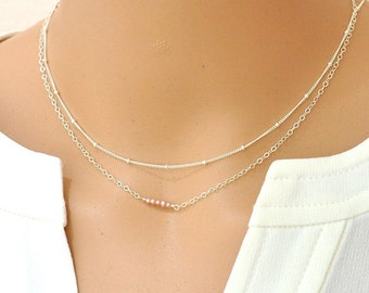Tiny Pink Freshwater Pearl Bar Necklace, Dainty Silver Necklace,  Delicate Silver Chain Necklace, Delicate and feminine, Layering Necklace