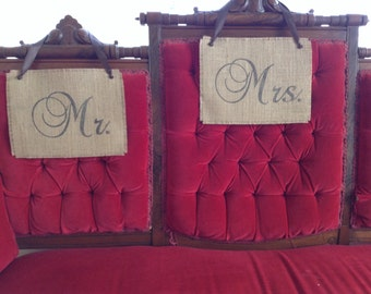 Burlap Mr. Mrs. Wedding Signs